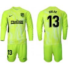 2020-21 Atletico Madrid Oblak #13 Oblak Light Green Third Long-sleeved Jersey