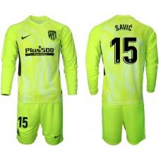 2020-21 Atletico Madrid Stefan Savic #15 Light Green Third Long-sleeved Jersey