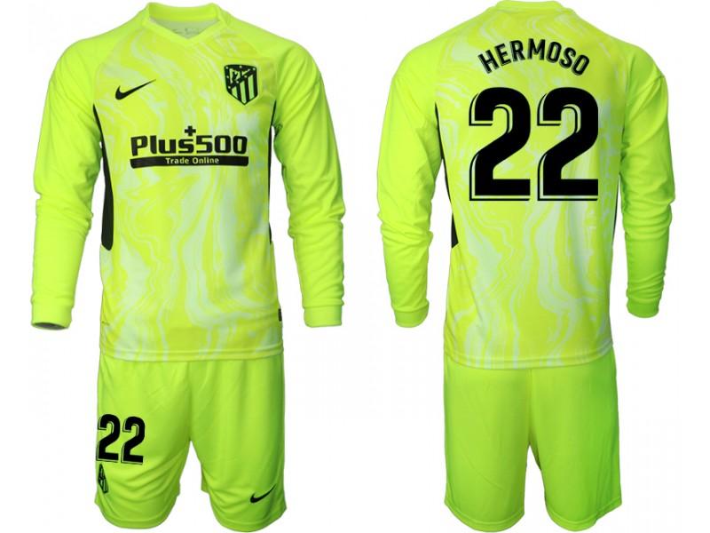 2020-21 Atletico Madrid Mario Hermoso #22 Light Green Third Long-sleeved Jersey