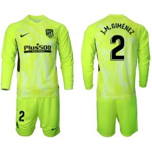 2020-21 Atletico Madrid Jose Gimenez #2 Light Green Third Long-sleeved Jersey
