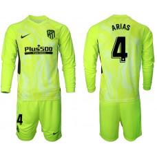 2020-21 Atletico Madrid Santiago Arias #4 Light Green Third Long-sleeved Jersey
