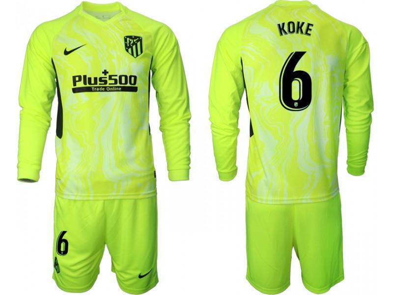 2020-21 Atletico Madrid Koke #6 Light Green Third Long-sleeved Jersey