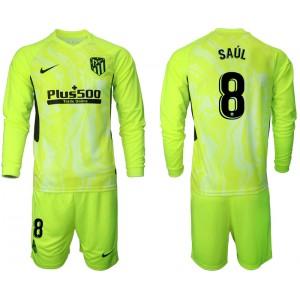 2020-21 Atletico Madrid Saul #8 Light Green Third Long-sleeved Jersey