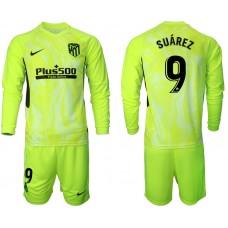 2020-21 Atletico Madrid Luis Suarez #9 Light Green Third Long-sleeved Jersey