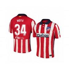 Youth 2020/21 Atletico Madrid Antonio Moya Replica Red White Stripe Home Jersey
