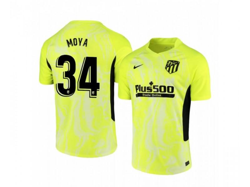 Youth 2020/21 Atletico Madrid Antonio Moya Authentic Neon Yellow Third Jersey