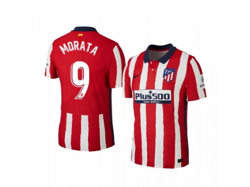 Women's 2020/21 Atletico Madrid Alvaro Morata Replica Red White Stripe Home Jersey