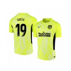 Youth 2020/21 Atletico Madrid Diego Costa Replica Neon Yellow Third Jersey