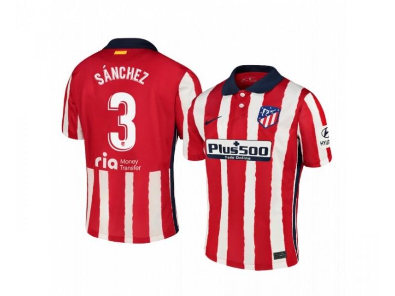 2020/21 Atletico Madrid Manu Sanchez Replica Red White Stripe Home Jersey