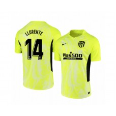 2020/21 Atletico Madrid Marcos Llorente Authentic Neon Yellow Third Jersey