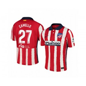 Women's 2020/21 Atletico Madrid Sergio Camello Authentic Red White Stripe Home Jersey