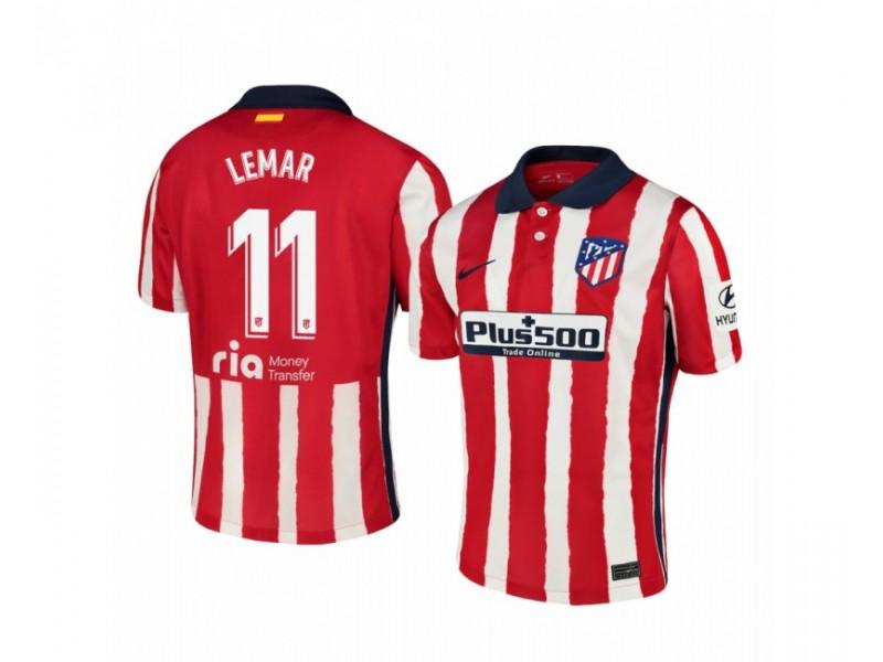 2020/21 Atletico Madrid Thomas Lemar Replica Red White Stripe Home Jersey