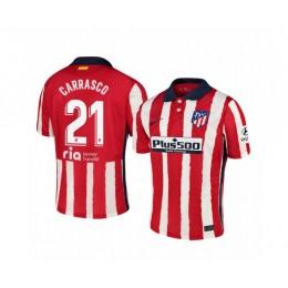 Youth 2020/21 Atletico Madrid Yannick Carrasco Replica Red White Stripe Home Jersey