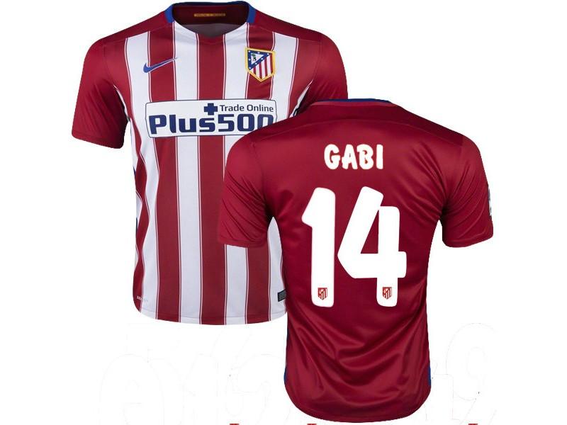 2208439cb 14 Gabi Authentic Red   White Stripes Home Short Shirt 15 16 La Liga ...